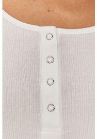 Biała bluzka z długim rękawem Pieces na co dzień, casualowa