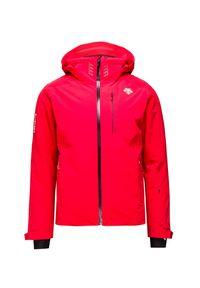 Czerwona kurtka narciarska Descente w kolorowe wzory