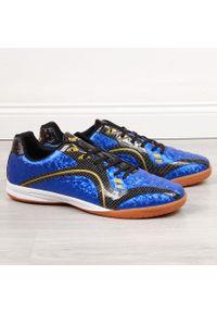 Buty halowe męskie nadwymiar niebieskie American Club. Kolor: niebieski. Materiał: skóra ekologiczna. Szerokość cholewki: normalna