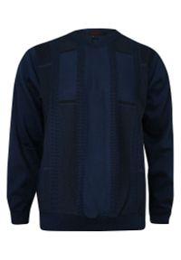 Niebieski sweter Kings z dekoltem w serek, klasyczny