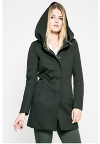 Czarny płaszcz only casualowy, z kapturem