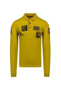 Aeronautica Militare - Polo AERONAUTICA MILITARE. Typ kołnierza: polo. Kolor: żółty. Materiał: bawełna, prążkowany. Długość rękawa: długi rękaw. Długość: długie. Wzór: aplikacja. Styl: elegancki