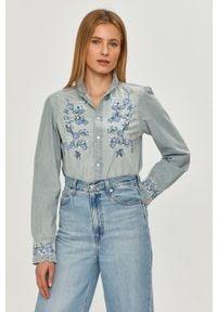 Niebieska koszula Polo Ralph Lauren z aplikacjami, na co dzień, długa, polo