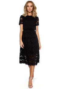 Czarna sukienka wizytowa MOE z krótkim rękawem, midi
