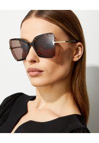 Tom Ford - TOM FORD - Brązowe okulary przeciwsłoneczne Gia. Kolor: brązowy. Materiał: materiał