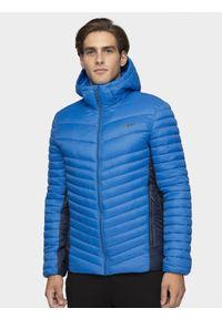 Niebieska kurtka puchowa 4f z kapturem