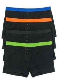 Bokserki damskie (4 pary) bonprix czarno-kolorowy. Kolor: czarny. Wzór: kolorowy
