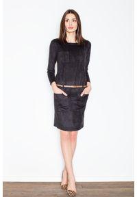 Figl - Czarna Prosta Midi Sukienka z Paskiem z Eko-skóry. Kolor: czarny. Materiał: skóra. Typ sukienki: proste. Długość: midi