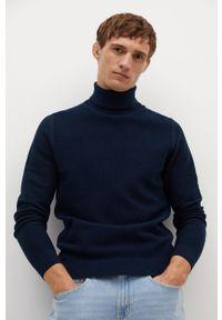 Niebieski sweter Mango Man z długim rękawem, długi, z golfem, casualowy