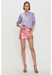 Różowa spódnica Pepe Jeans gładkie, casualowa, na co dzień, z podwyższonym stanem