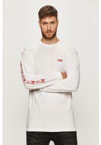 Biała koszulka z długim rękawem Vans casualowa, z nadrukiem, na co dzień
