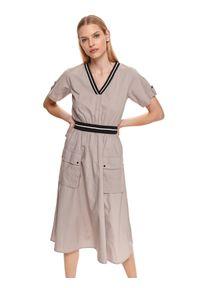 DRYWASH - Sukienka midi z dekoltem w serek i naszywanymi kieszeniami. Typ kołnierza: dekolt w serek. Kolor: beżowy. Materiał: bawełna, tkanina. Długość rękawa: krótki rękaw. Sezon: lato. Długość: midi