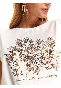 Biały t-shirt TOP SECRET elegancki, z nadrukiem