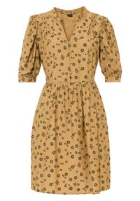 Sukienka z guzikami bonprix brązowo-czarny w roślinny wzór. Kolor: brązowy