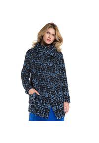 Niebieski płaszcz Wittchen w kolorowe wzory, z kontrastowym kołnierzykiem