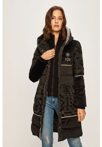 Czarna kurtka Desigual z kapturem, casualowa, na co dzień