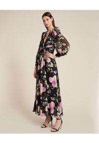 Luisa Spagnoli - LUISA SPAGNOLI - Czarna sukienka z kwiatowym nadrukiem GELSI. Kolor: czarny. Wzór: kwiaty, nadruk. Typ sukienki: koszulowe. Długość: maxi