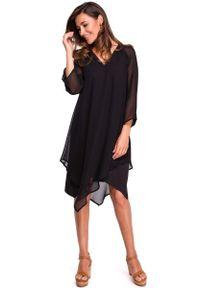 MOE - Czarna Asymetryczna Sukienka Dwuwarstwowa z Dzwonkowym Rękawem. Kolor: czarny. Materiał: poliester, elastan. Typ sukienki: asymetryczne