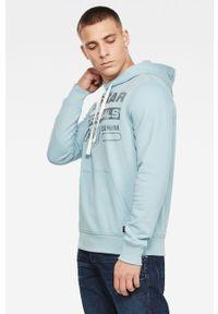 Niebieska bluza nierozpinana G-Star RAW na co dzień, z kapturem, casualowa