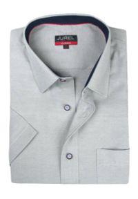 Szara elegancka koszula Jurel krótka, z krótkim rękawem, na co dzień