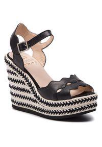 Czarne sandały Kanna na średnim obcasie, na obcasie, na co dzień