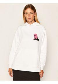 Biała bluza Karl Lagerfeld z nadrukiem, z dekoltem karo