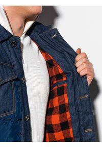 Niebieska kurtka Ombre Clothing z aplikacjami, na wiosnę