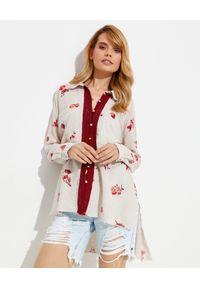 ONETEASPOON - Oversizowa koszula w kwiaty Western Rose. Kolor: beżowy. Materiał: materiał. Długość rękawa: długi rękaw. Długość: długie. Wzór: kwiaty