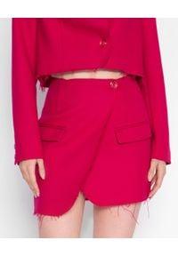 MARLU - Różowa spódnica z zakładką Berno. Kolor: wielokolorowy, różowy, fioletowy. Materiał: wełna