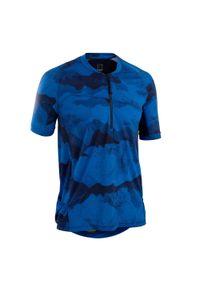 ROCKRIDER - Koszulka rowerowa Rockrider MTB ST 500. Kolor: niebieski, żółty, wielokolorowy. Materiał: tkanina, materiał. Sezon: lato