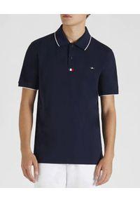 PAUL & SHARK - Granatowa koszulka polo z bawełny. Typ kołnierza: polo. Kolor: niebieski. Materiał: bawełna. Wzór: aplikacja, kolorowy