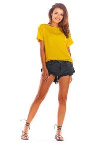 Awama - Żółta Oversizowa Bluzka Wiązana na Plecach. Kolor: żółty. Materiał: wiskoza, elastan