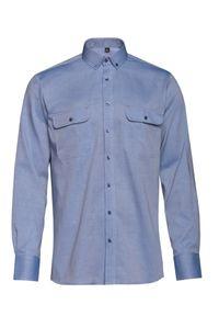 VEVA - Męska Koszula z Kieszeniami Rygle Błękit. Okazja: na co dzień. Typ kołnierza: button down. Kolor: niebieski. Materiał: bawełna, jeans. Długość rękawa: długi rękaw. Długość: długie. Styl: casual
