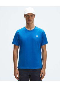 North Sails - NORTH SAILS - Niebieski t-shirt z naszywanym logo. Kolor: niebieski. Materiał: bawełna. Wzór: aplikacja