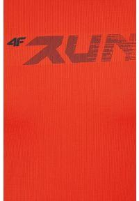 4f - 4F - T-shirt. Okazja: na co dzień. Kolor: pomarańczowy. Materiał: włókno, dzianina. Wzór: gładki. Styl: casual