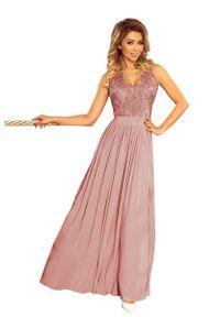 Sukienka Numoco wizytowa, w koronkowe wzory, maxi