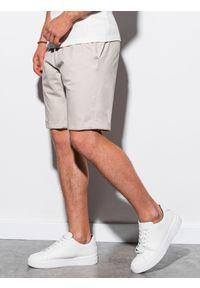Ombre Clothing - Krótkie spodenki męskie casual W243 - jasnobeżowe - XXL. Okazja: na co dzień. Kolor: beżowy. Materiał: elastan, bawełna. Długość: krótkie. Sezon: lato. Styl: casual