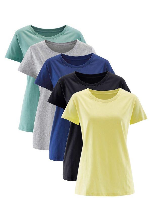Shirt z okrągłym dekoltem (5 szt.), krótki rękaw bonprix jasna limonka + zielony szałwiowy + kobaltowy + jasnoszary melanż + czarny. Kolor: żółty. Materiał: jersey. Długość rękawa: krótki rękaw. Długość: krótkie. Wzór: melanż