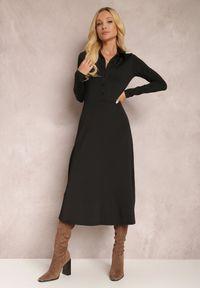 Renee - Czarna Sukienka Eidilea. Kolor: czarny. Długość rękawa: długi rękaw. Typ sukienki: koszulowe, dopasowane. Styl: retro. Długość: midi