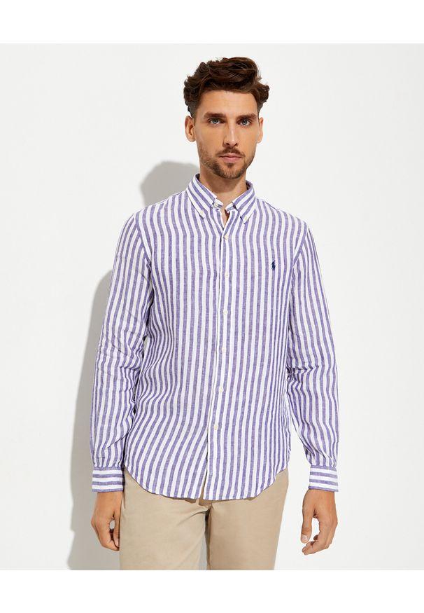 Ralph Lauren - RALPH LAUREN - Lniana koszula w prążki Custom Fit. Typ kołnierza: button down, polo. Kolor: biały. Materiał: len. Wzór: prążki
