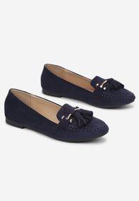 Renee - Granatowe Mokasyny Phaethiax. Nosek buta: okrągły. Zapięcie: bez zapięcia. Kolor: niebieski. Szerokość cholewki: normalna. Wzór: aplikacja. Obcas: na obcasie. Styl: klasyczny. Wysokość obcasa: niski