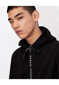Armani Exchange - ARMANI EXCHANGE - Czarna bluza z kapturem. Okazja: na co dzień. Typ kołnierza: kaptur. Kolor: czarny. Wzór: jednolity. Styl: casual