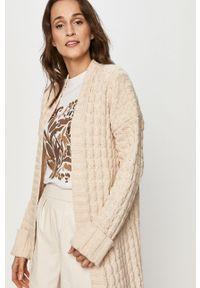 Kremowy sweter rozpinany Answear Lab wakacyjny, długi, z długim rękawem