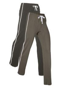 Spodnie shirtowe ze stretchem (2 pary), długie, Level 1 bonprix ciemnooliwkowy + antracytowy melanż. Kolor: zielony. Długość: długie. Wzór: melanż