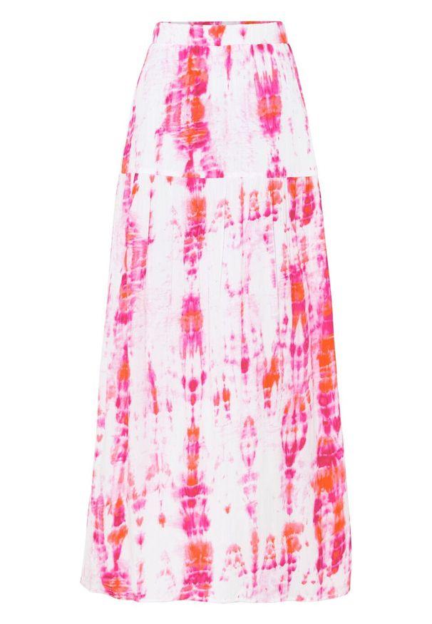Spódnica maxi z batikowym nadrukiem bonprix biel wełny - różowo-pomarańczowy z nadrukiem. Kolor: biały. Materiał: wełna. Długość: długie. Wzór: nadruk