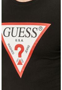 Czarna koszulka z długim rękawem Guess Jeans casualowa, z nadrukiem, na co dzień