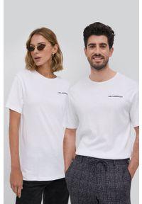 Karl Lagerfeld - T-shirt. Okazja: na co dzień. Kolor: biały. Materiał: lyocell, bawełna, dzianina, materiał, tkanina, jedwab. Styl: casual