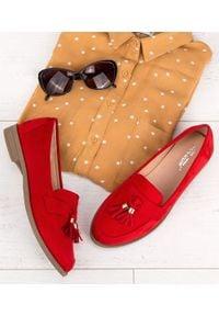 Czerwone mokasyny ABLOOM w kolorowe wzory, klasyczne, bez zapięcia