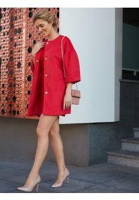 TOP SECRET - Płaszcz damski zapinany z modnym dzwonkowym rękawem. Okazja: na co dzień. Kolor: czerwony. Długość rękawa: krótki rękaw. Sezon: jesień, zima. Styl: casual, elegancki #6