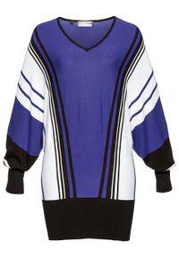 Sweter bonprix szafirowo-biało-czarny. Typ kołnierza: dekolt w serek. Kolor: niebieski. Styl: elegancki